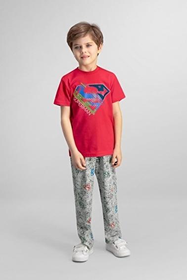 Superman  Lisanslı Açık Gri Erkek Çocuk Pijama Takımı Kırmızı